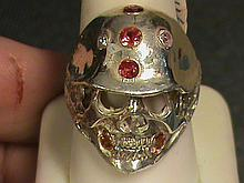 Biker's Skeleton Helmet Vivid Red, Royal Golden & White Sapphire Ring.