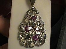 Fancy Genuine Fancy Shape Sapphire Sterling Silver Nugget Pendant