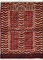 HATCHLOU-BOUKHARA Russe. 2e  partie du 20e siècle. Forme prière à Mirghab, champ brique à semis de chandeliers et peignes. Large bordure à feuillages et crochets. 143x104 cm