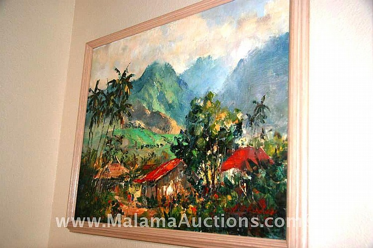 1973 oil painting old hawaiiana