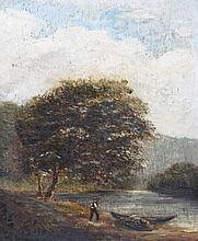 19TH CENTURY ENGLISH SCHOOL A figure with boat at