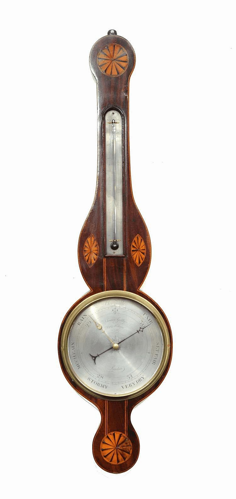 AN EARLY 19TH CENTURY WHEEL BAROMETER The 8 1/2