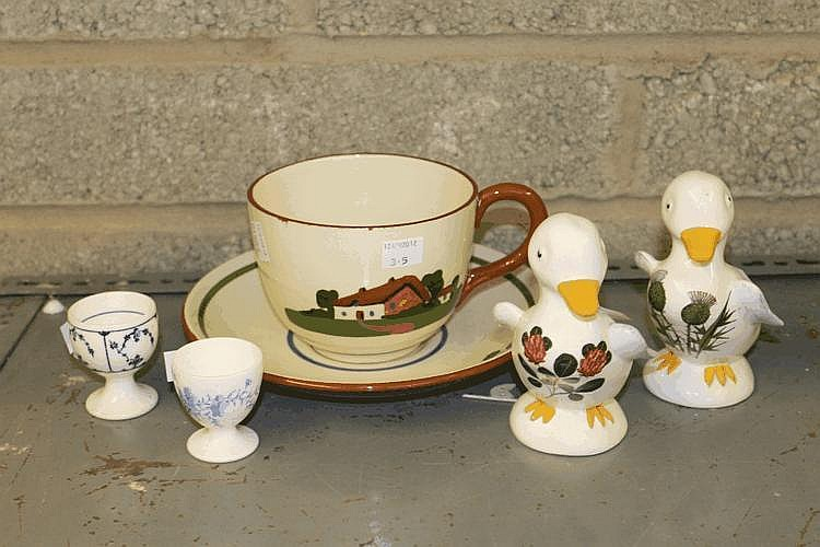 A PAIR OF PLICHTA POTTERY MODEL DUCKLINGS, a