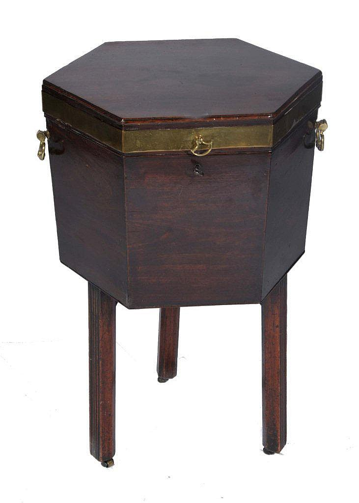 A GEORGE III MAHOGANY HEXAGONAL WINE COOLER with