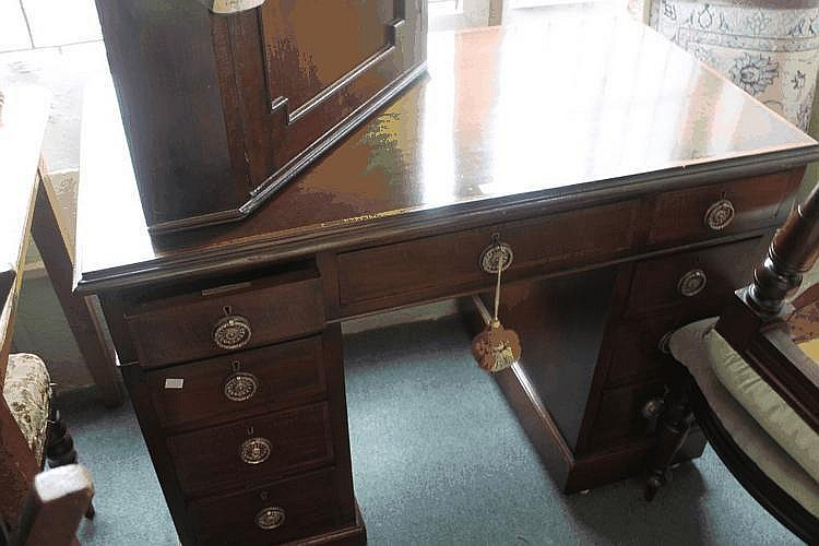 A MAHOGANY PEDESTAL DESK with inlaid rectangular