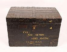 A VICTORIAN OAK AND METAL BOUND SILVER TRUNK labe