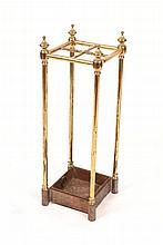 A VICTORIAN BRASS FOUR SECTIONAL STICK STAND with