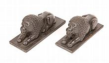 A PAIR OF INDIAN CARVED WOODEN MODELS of crouchin