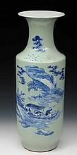 A 19TH CENTURY CHINESE CELADON GLAZED TALL PORCEL