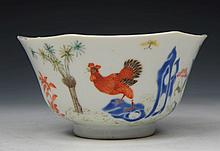 A CHINESE PORCELAIN OCTAGONAL BOWL decorated cock
