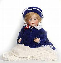 AN ANTIQUE BISQUE HEADED DOLL by Kestner, stamped