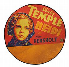 A SHIRLEY TEMPLE CIRCULAR CINEMA ADVERTISING POSTE
