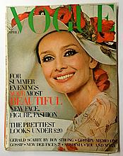 A rare copy of British Vogue magazine published 1st April 1971 with Audrey Hepburn photographed by Henry Clarke on the c
