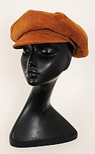 A 1960s Christian Dior tan suede 'baker boy' cap, 'Diorling by Christian Dior' label to inside