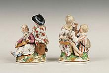 A PAIR OF BERLIN PORCELAIN FIGURE GROUPS of