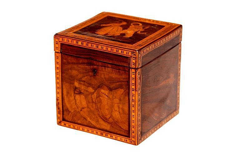 A TUNBRIDGEWARE TEA CADDY, square shaped and with