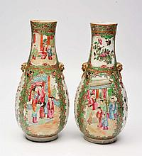 A PAIR OF CANTON PORCELAIN BOTTLE VASES, each with
