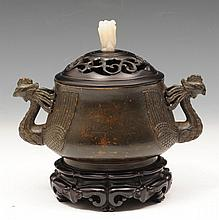 A CHINESE BRONZE CENSER with double phoenix
