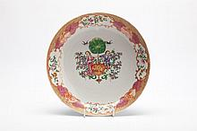 A CHINESE EXPORT PORCELAIN SHALLOW DISH, the