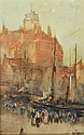 JOHN TERRIS (1865-1914) A continental harbour with