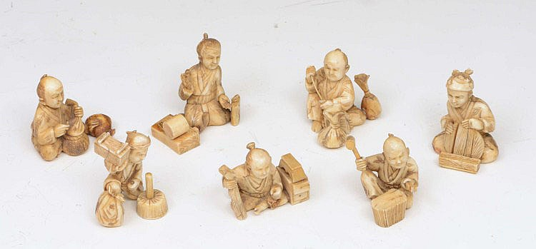 A GROUP OF SEVEN 19TH CENTURY JAPANESE CARVED