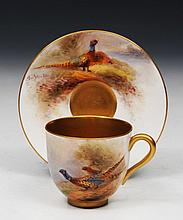 A ROYAL WORCESTER PORCELAIN PAINTED CUP and sauce