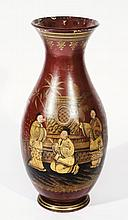 AN ENGLISH TERRACOTTA LARGE VASE with chinoiserie