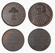 TWO 18TH CENTURY PENNY TOKENS, Rev Will Romaine