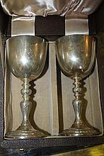 TWO CASED PAIRS OF COMMEMORATIVE SILVER GOBLETS f