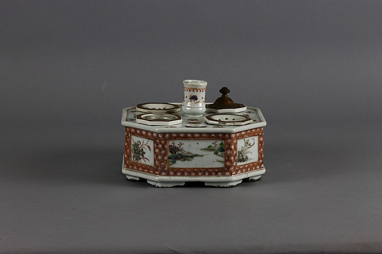 Rare Chinese Export 18th c. Candlestick Desk Set