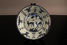 Chinese Ming Dynasty  B/W Kraak Porcelain Plate
