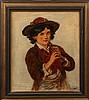 19TH C OIL ON CANVAS PORTRAIT YOUNG BOY W/ FLUTE