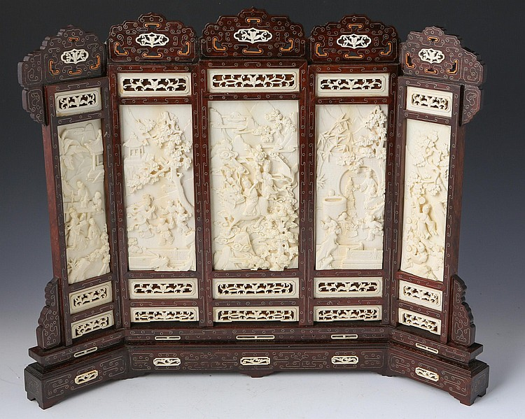 CHINESE CARVED IVORY & ROSEWOOD TABLE SCREEN