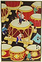 CHINESE XIAN NUNGMIN HUA PEASANT PAINTING OF DRUMS