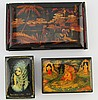 (3) MINIATURE RUSSIAN & CHINESE LACQUER BOXES