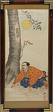 JAPANESE ORIGINAL PAINTING ON SILK BOWING SAMURAI