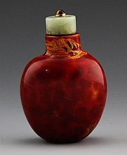 PEKING GLASS IMITATING REALGAR SNUFF BOTTLE