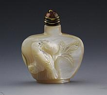CARVED MOTHER OF PEARL SNUFF BOTTLE