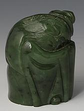 CHINESE CARVED JADE SLEEPING LI BAI