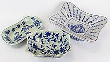(3) PIECES OF CHINESE BLUE AND WHITE POTTERY