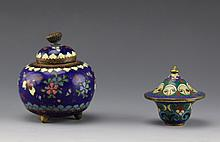 PAIR OF CLOISONNE TRINKET BOXES
