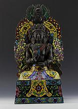 ASIAN METAL & ENAMEL SEATED BUDDHA