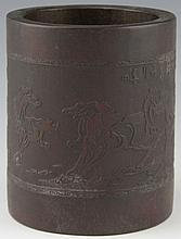 CHINESE BAMBOO BRUSH POT AFTER XU BIEHONG HORSES