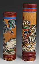 PAIR CHINESE PAINTED INDONESIAN BAMBOO VASES