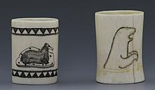 PAIR OF BONE SCRIMSHAW CUPS