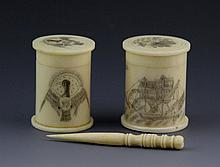 BONE NEEDLE CASE & TWO SCRIMSHAW TRINKET BOXES