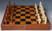 JAPANESE IVORY CHESS SET WITH CASE/BOARD