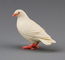 ANTIQUE POLYCHROME JAPANESE IVORY PIGEON