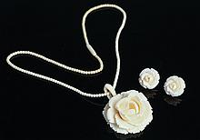 ANTIQUE CARVED IVORY FLORAL JEWELRY