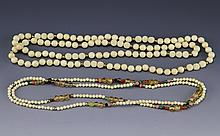 (2) CHINESE CARVED IVORY BEADED NECKLACES